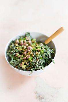 Shredded Kale Salad with Tahini Miso Dressing #food #glutenfree #kale