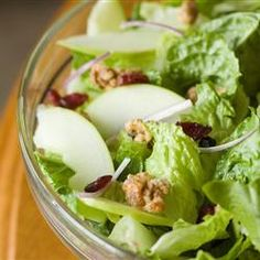 Apple Walnut Salad with Cranberry Vinaigrette  Nutrition      Calories     274 kcal     14% Serving Size: 1/10 of a recipe Servings Per Recipe: 10 Amount Per Serving Calories: 274 Calories from Fat: 234      % Daily Value *     Total Fat 26g 40 %     ** Saturated Fat 3.2g 16 %     Cholesterol 0mg 0 %     Sodium 93mg 4 %     ** Potassium 261mg 7 %     Total Carbohydrates 10.6g 3 %     Dietary Fiber 2.7g 11 %     Protein 2.1g 4 %     Sugars 6.4g     Vitamin A 30 %     Vitamin C 20 %