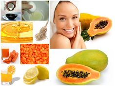 DIY Papaya facial recipe. Papaya contains an enzyme called papain that is beneficial for the skin. Papain gently dissolves and exfoliates dead skin cells and helps bring new skin cells to the surface revealing a healthy complexion. Papaya can fade dark marks, even skin tone and can be found in some natural skin lightening products. #papayas #facialrecipe