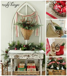 2013 Holiday Housewalk Stop - lovely tall window and chippy table vignette