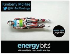"KIMBERLY MCRAE: Kimberly is a 2014 Olympian Canadian luge athlete! She had raced her way to many podium finishes & finished 5th in Sochi! Follow Kim's journey to the 2018 Winter Games- the best is yet to come! ""ENERGYbits have given me the chance to train harder and stronger, by keeping me healthy and recovered to face any challenge in the gym. In sports every BIT counts!"""