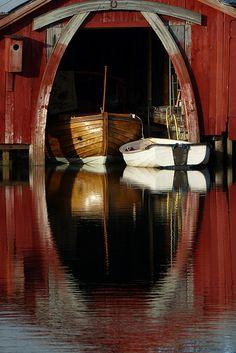 boats at the boathouse, Nabben,  Mariehamn, Åland Islands