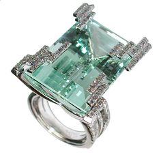 Iceberg ring featuring a 46.72-carat green beryl by Mathon