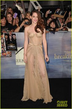 Kristen Stewart looks golden at the premiere of Summit Entertainment's The Twilight Saga: Breaking Dawn – Part 2 held at Nokia Theatre L.A. Live on Monday