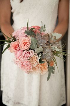 Rose, Peony + Succulent Wedding Bouquet | Pink and Peach | Photography: Weddings by Willy & Meghan  Read more - http://www.stylemepretty.com/destination-weddings/2013/11/27/hawaii-ranch-inspiration-shoot-from-weddings-by-willy-meghan/