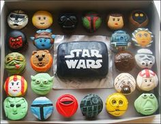 geek, birthday, cupcakes, stars, food, starwar, star wars, parti, war cupcak