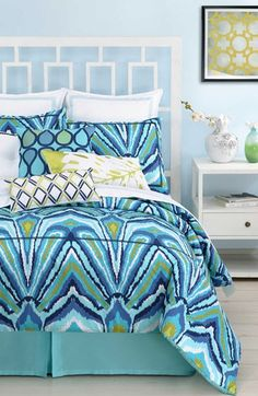 Trina Turk 'Blue Peacock' Twin Duvet Cover & Sham available at #Nordstrom