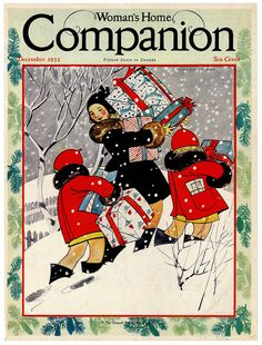 The charmingly illustrated cover of Woman's Home Companion magazine, December 1932. #vintage #1930s #Christmas