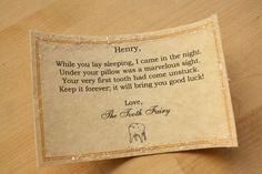 tooth fairy note for very first lost tooth