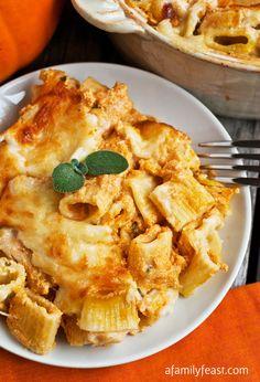 Creamy Pumpkin Pasta Bake - A creamy, cheesy comforting fall dinner idea!  So easy and delicious!
