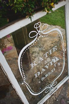 Vintage Antique Wedding Welcome Window