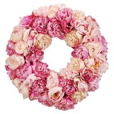 faux peony wreath in pink