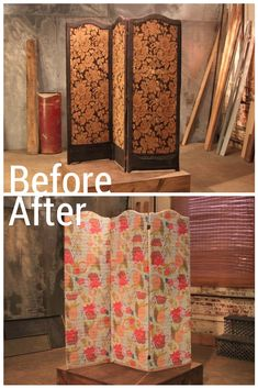 Covered in a bright, cheerful fabric, this colorful dressing screen is given new life.