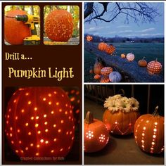 Drill holes in pumpkins instead of carving! So pretty!