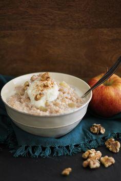 Apple Cinnamon Walnut Brown Rice Farina | www.theroastedroot.net