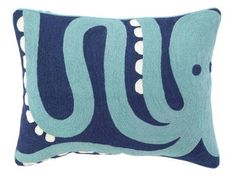 Nautical Octopus Crewel Embroidered Pillow