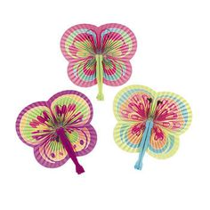 12 Spring Color Butterfly Shaped Folding Fans Girls Tea Birthday Party Favor | eBay