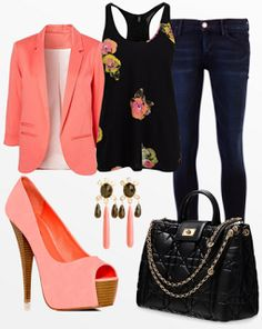 not into the blazer.. if it was only that top with the jeans, purse, earrings and shoes it would look great. the blazer would bring out too much pink, and if it didn't have the blazer pink would be the accent of the outfit..