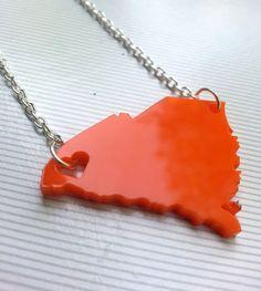 Clemson Necklace Heart over Clemson South by KellyAndPavelDesign, $15.00