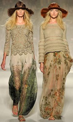 the beautiful knit on the right ... hats, lace, boho chic, bohemian fashion, crochet, maxis, bohemian style, floral, maxi skirts