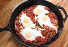 Shakshuka... Eggs Poached in Spicey Tomato Sauce