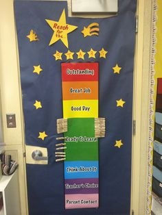 Behavior chart wall. If students clip all the way up to the stars they get a jewel on their clip. chart wall, behavior charts, student clip, star