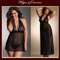 Short vs. Long: Which do you prefer?? Our bestselling Halter Tie Cup Babydoll & Halter Long Gown with Tie Cups Find them both at www.hipsandcurves.com/plus-size-lingerie/search.aspx?SearchTerm=Tie+Cups