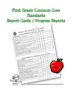 Here are the common core standards for First Grade in a simple chart form to use as individual progress reports or report cards. Each common core s...