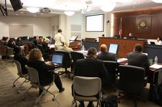 The mock trial in action! This is the capstone experience for students enrolled in the Forensic Studies program at Stevenson.