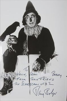Ray Bolger, The Scarecrow Autograph