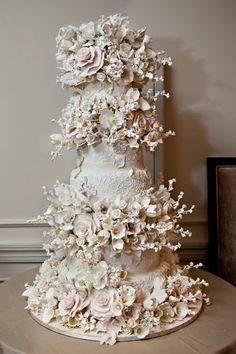 Fabulous nude color wedding cake.<3