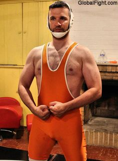 young collegiate hairy wrestler