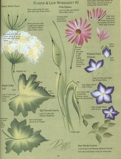 one stroke painting | One Stroke Painting / Flower and Leaf Worksheet
