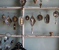 vintage tart tin ornaments repurposed embellishments, keys, buttons, charms