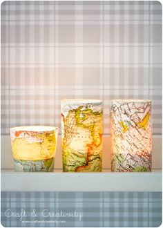 map votives. old book crafts, old map craft, paper, decorating ideas, candle holders, candles, glass, book pages, old books