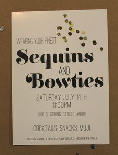 Sequins & Bow ties themed Printable Party Invitation Gold/White/Black (new years eve, couples shower)