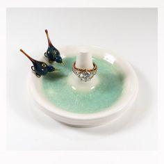 Peacock love birds ring stand, wedding ring holder, blue birds ceramic jewelry dish