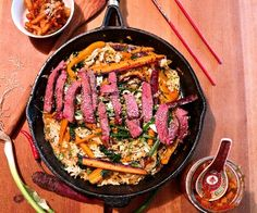 This sweet and spicy beef stir fry is delicious, fast and super adaptable, the sauce is loaded with flavour, and home made kimchi amps it up even higher.
