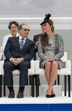 Royal Princess naming ceremony- The Duchess of Cambridge sitting with President & CEO of Princess Cruises, Alan Buckelew