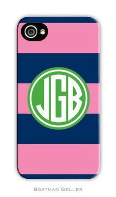 Boatman Geller Rugby Navy & Pink iPhone Case