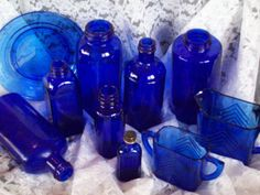 love cobalt blue glass!!    Cobalt Blue Glass 10 Piece - Instant Collection by theSheepandI, $59.00