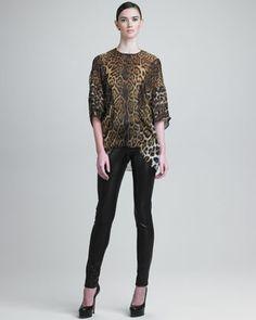 Leopard-Print Silk Tunic & Leather Leggings by Yves Saint Laurent at Neiman Marcus. #NMFAlltrends