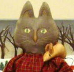 CAT Doll Primitive Folk Art ePATTERN CAT 3 Mice by Raggedyrhondas