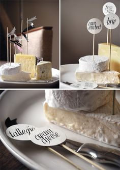 Black and white cheese labels. Designed by @Kristen Anelle Mostert from Seven Swans for The Pretty Blog .