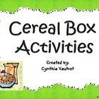TPT, cereal box activities.