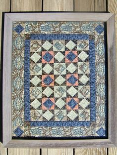 Pieceful Things Etsy Store: William Morris Stars 16x20 Framed Wall Quilt. $125.00, via Etsy.