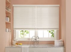 Faux Wood Blinds are perfect for a bathroom. #MarthaWindow @JCPenney #windowtreatments