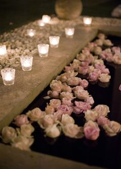 Floating Roses & Lit Candles