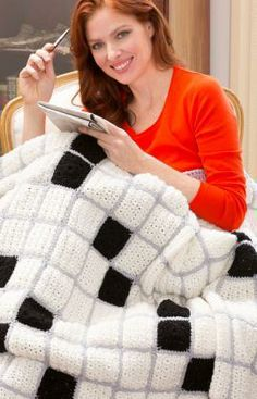 Crossword Lovers Throw Free Crochet Pattern from Red Heart Yarns