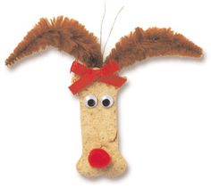 Dog Treat Reindeer by lds.org: So sweet!  #Kids #Crafts #Dog_Biscuit #Reindeer